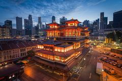 Buddha tooth relic temple ,Singapore. Buddha tooth relic temple is a good pace for take a picture if your capture before sunrise-sunrise will have great pic royalty free stock images