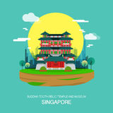 Buddha tooth relic temple and museum landmark in Singapore.vecto. Buddha tooth relic temple and museum landmark in Singapore Royalty Free Stock Image