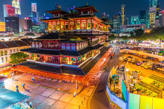 The Buddha Tooth Relic Temple at night Royalty Free Stock Photography
