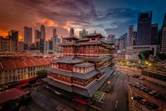 Buddha Tooth Relic Temple at sunrise in China town, Royalty Free Stock Images