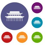 Buddha Toothe Relic Temple in Singapore icons set. In flat circle reb, blue and green color for web Royalty Free Stock Photo