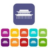 Buddha Toothe Relic Temple in Singapore icons set. Vector illustration in flat style In colors red, blue, green and other Royalty Free Stock Images