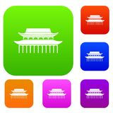 Buddha Toothe Relic Temple in Singapore set collection. Buddha Toothe Relic Temple in Singapore set icon in different colors isolated vector illustration Stock Image