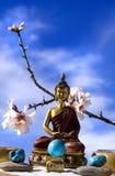 buddha trädgårds- meditationzen Arkivbilder