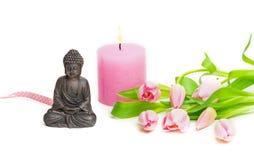 Buddha, Tulpen, Kerze, Zen Stockbild
