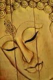 Buddha Twarz Cyzelowania drewno Zdjęcie Stock
