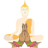 Buddha and Two hands  in prayer Stock Photography