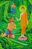 Buddha-und Angulimala Räuber in der Zeichnung Lizenzfreie Stockfotografie