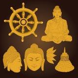 Buddha- und Buddhismussymbole Lizenzfreies Stockfoto
