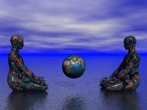 Buddha und Erde Stockfotografie