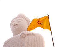 Buddha und Markierungsfahne Stockfoto