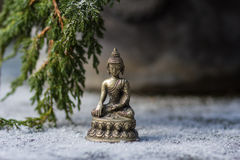 Buddha und Niederlassung des Tannenbaums im Schnee Lizenzfreie Stockbilder