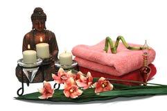 Buddha und Orchidee Lizenzfreies Stockfoto