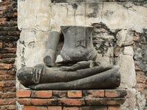 BUDDHA UTAN DEN HEAD STATYN, WAT MAHA SOM TEMPEL, AYUTTHAYA, THAILAND Royaltyfri Fotografi