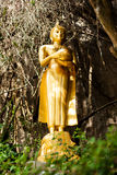 Buddha in valley. Gold color Sculpture stock image