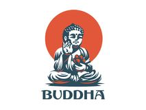 Buddha. Vector emblem. The Buddha statue. In his hands holds a lotus flower stock illustration