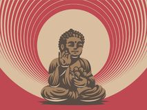 Buddha. Vector emblem. The Buddha statue. In his hands holds a lotus flower royalty free illustration