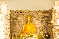 Buddha w Czerwonej cegły starej ścianie Obraz Royalty Free