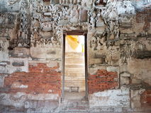 Buddha wall. Church wall of antique temple Stock Photos