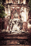 Buddha at Wat Mahathat ruins. Ayutthaya, Thailand Stock Photo
