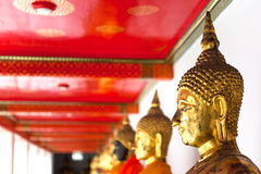 Buddha in Wat Pho Temple sequential nicely in Bang Royalty Free Stock Images