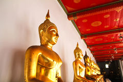 Buddha in Wat Pho Temple sequential nicely in Bangkok Stock Images