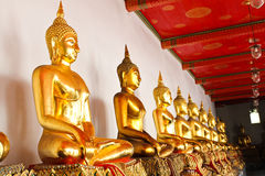 Buddha in Wat Pho Temple sequential nicely in Bangkok Stock Photo