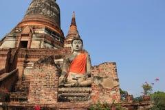 Buddha at Watyaichaimongkol Temple in Ayutthaya, Thailand. Ancient Stone Buddha at Watyaichaimongkol Temple in Ayutthaya, Thailand Royalty Free Stock Photos