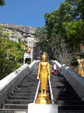 Buddha. The way to pray in the temple on the mountain Royalty Free Stock Photos