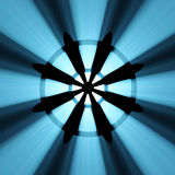 Buddha wheel symbol blue light flare Royalty Free Stock Image