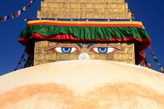 Buddha wisdom eyes of Boudhanath Stupa in Kathmandu, Nepal. Royalty Free Stock Images