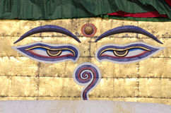 Buddha wisdom eyes on stupa of Nepal temple Stock Images