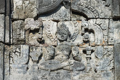 Buddha wizerunek w Candi Sewu Buddyjskim kompleksie, Jawa, Indonezja Zdjęcie Royalty Free