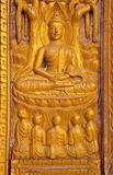 Buddha Wood,Handmade.Sculptures in The Temple. Royalty Free Stock Images