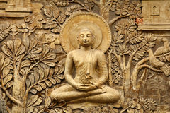 Buddha Wooden Carving Stock Image