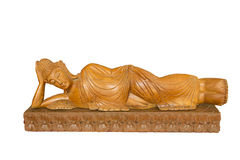 Buddha wooden carving. Thai style wooden carving on white background. Royalty Free Stock Photo