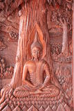 Buddha wooden carving in Thailand stock image