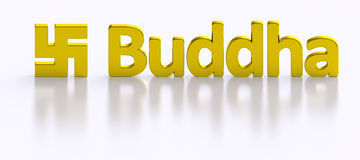 Buddha word and Swastika golden letters Stock Photos