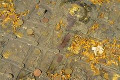 Buddha& x27; s-fotspår på den Mahachai templet i Mahasarakham av Thailan Royaltyfria Bilder