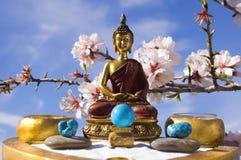 Buddha zen garden meditation. Golden budda  in zen garden under a blue sky. Horizontal Stock Photos