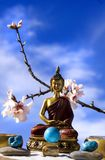 Buddha-Zengartenmeditation stockbilder