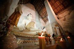 Buddhabild Ayutthaya Thailand Arkivbilder