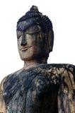 Buddhabilden på vit bakgrund i Kamphaeng historiska Phet parkerar, Thailand Fotografering för Bildbyråer