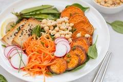 Buddhabunken med grönsaker, tofu, bakade sötpotatisen, spirar c Arkivfoton