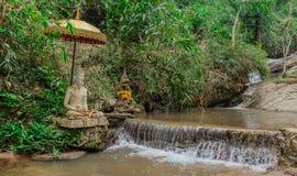 Buddhadiagram i en flod royaltyfria foton