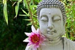 Buddhaframsida, lotusblommablomma och bambu Royaltyfria Bilder
