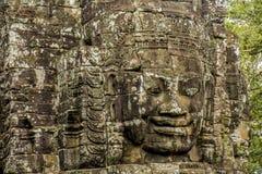 Buddhaframsidor av den Bayon templet Angkor Wat cambodia Royaltyfri Fotografi