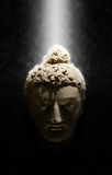 Buddhahuvud i en stråle av ljus Arkivfoto