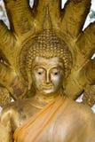 Buddhahuvudet i thai tempel Arkivbild