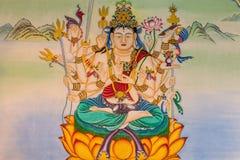 Buddhamålning på väggen Arkivfoto